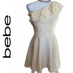 Bebe Ivory Dollie One Shoulder Ruffled Dress